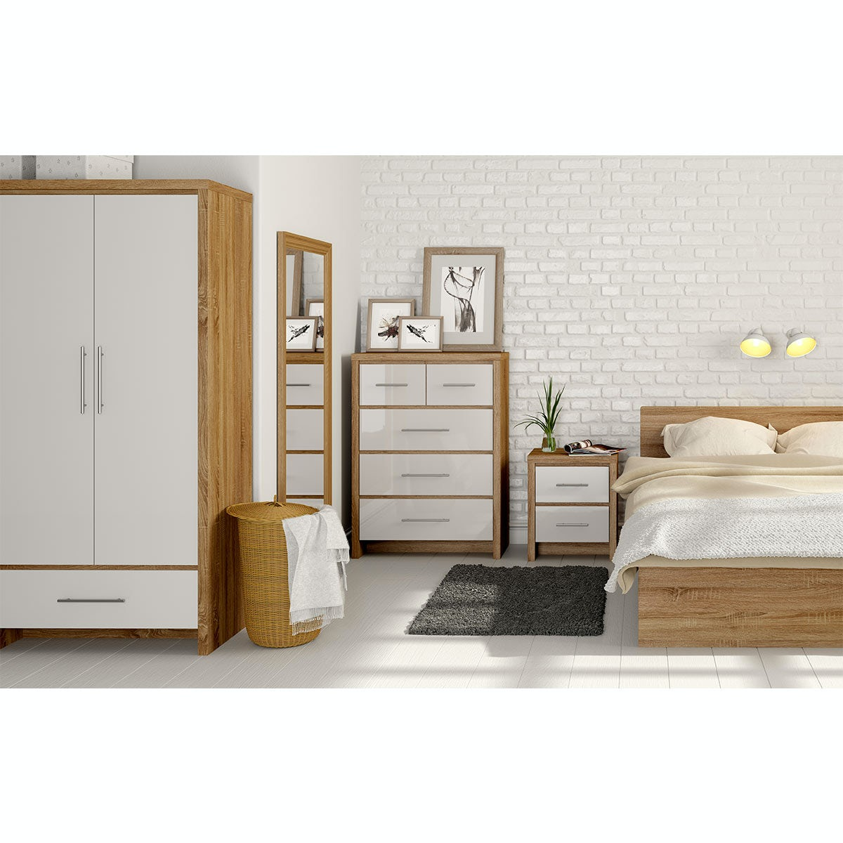 Tall Bedroom Chest Mfi London Oak And White Gloss 4 Drawer Tall Chest Victoriaplumcom