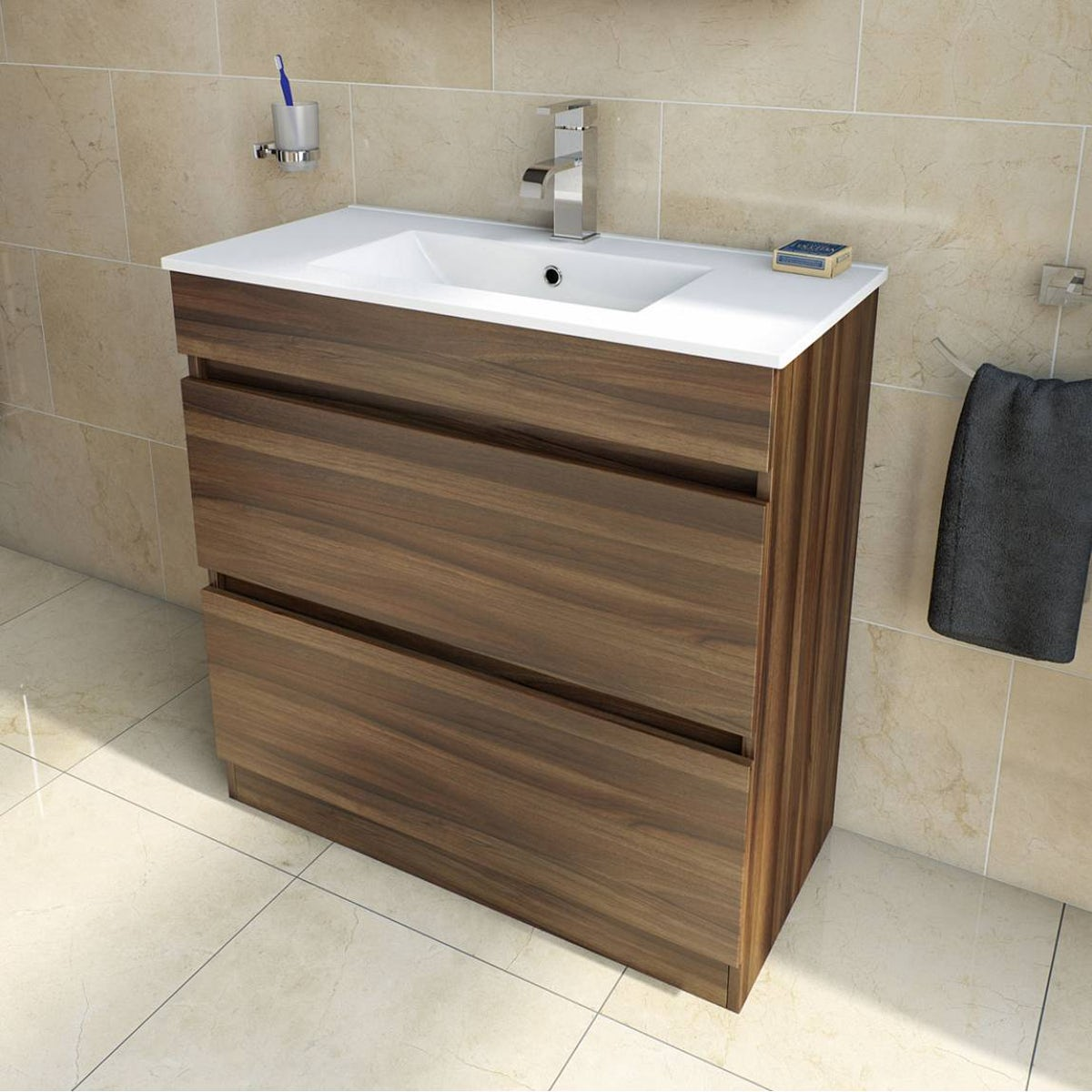 Plan Walnut Vanity Drawer Unit And Basin 800mm