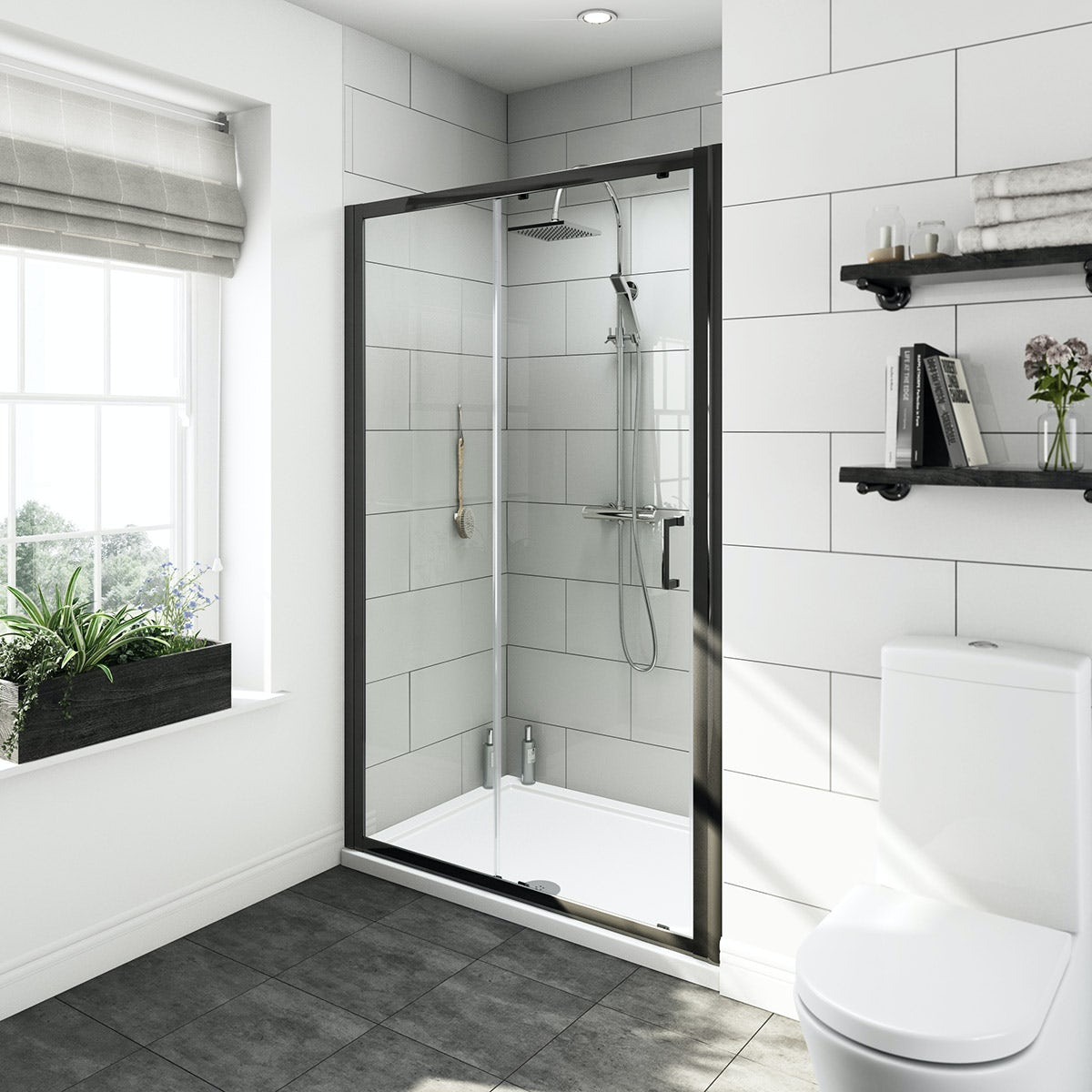 Mode Ive Bathroom Suite With Black Shower Door