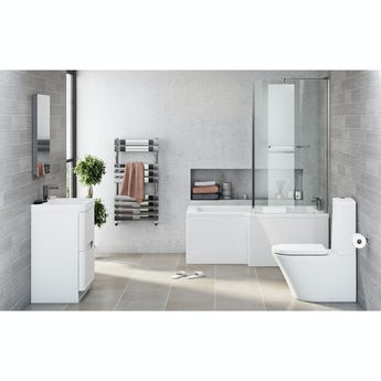 Mode Arte right hand shower bath 1700 x 850 suite with Planet white floor drawer unit