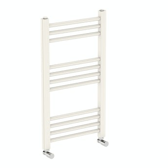Round white heated towel rail 700 x 400 offer pack