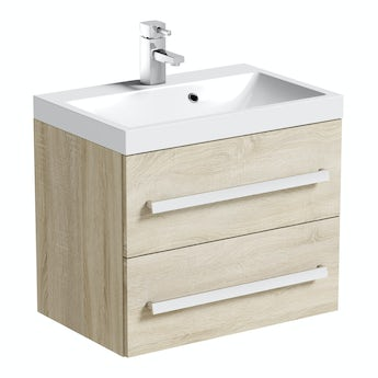 Arden oak wall hung vanity unit 600mm with basin
