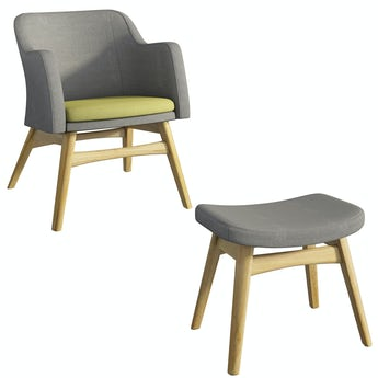 Sloane oak and grey/green armchair & footstool set