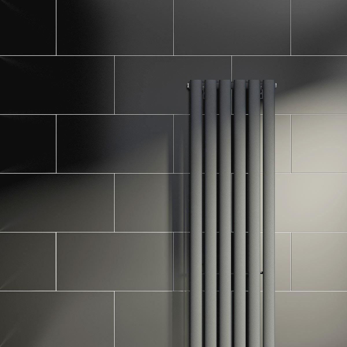 lifestyle shot of black rectangular tile