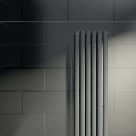 lifestyle shot of black rectangular tile