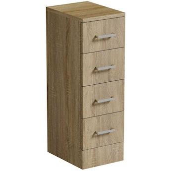 Sienna oak multi drawer unit