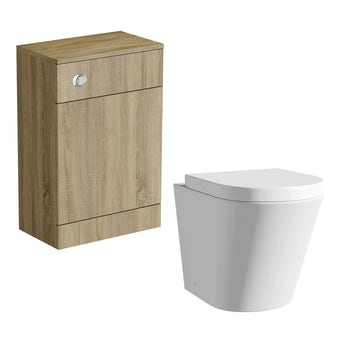 Arte back to wall toilet with seat and Sienna oak unit
