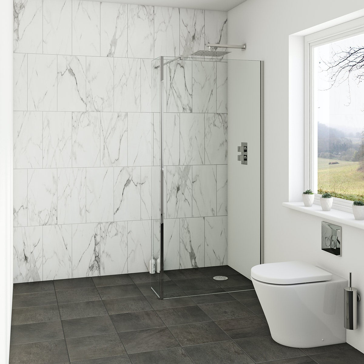 Mode 8mm Wet Room Glass Panel With Return Panel
