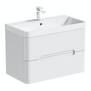 Mode Planet white wall hung vanity drawer unit and basin 800mm