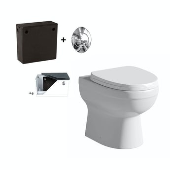 Energy back to wall toilet with soft close toilet seat and concealed cistern