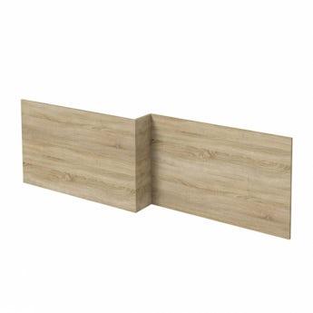 L shaped shower bath wooden front panel Drift oak 1700mm