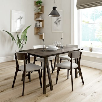 Hudson walnut trestle table with 4x Ernest beige dining chairs