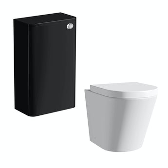 Mode Planet black back to wall toilet unit with Arte back to wall toilet