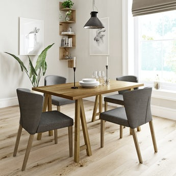 Hudson oak trestle table with 4x Hudson grey dining chairs
