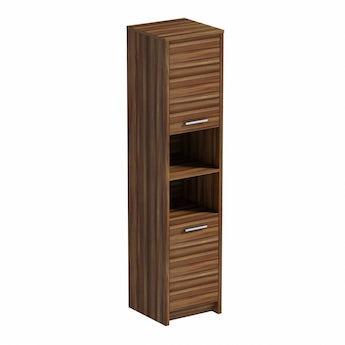 Smart walnut floor standing tall unit