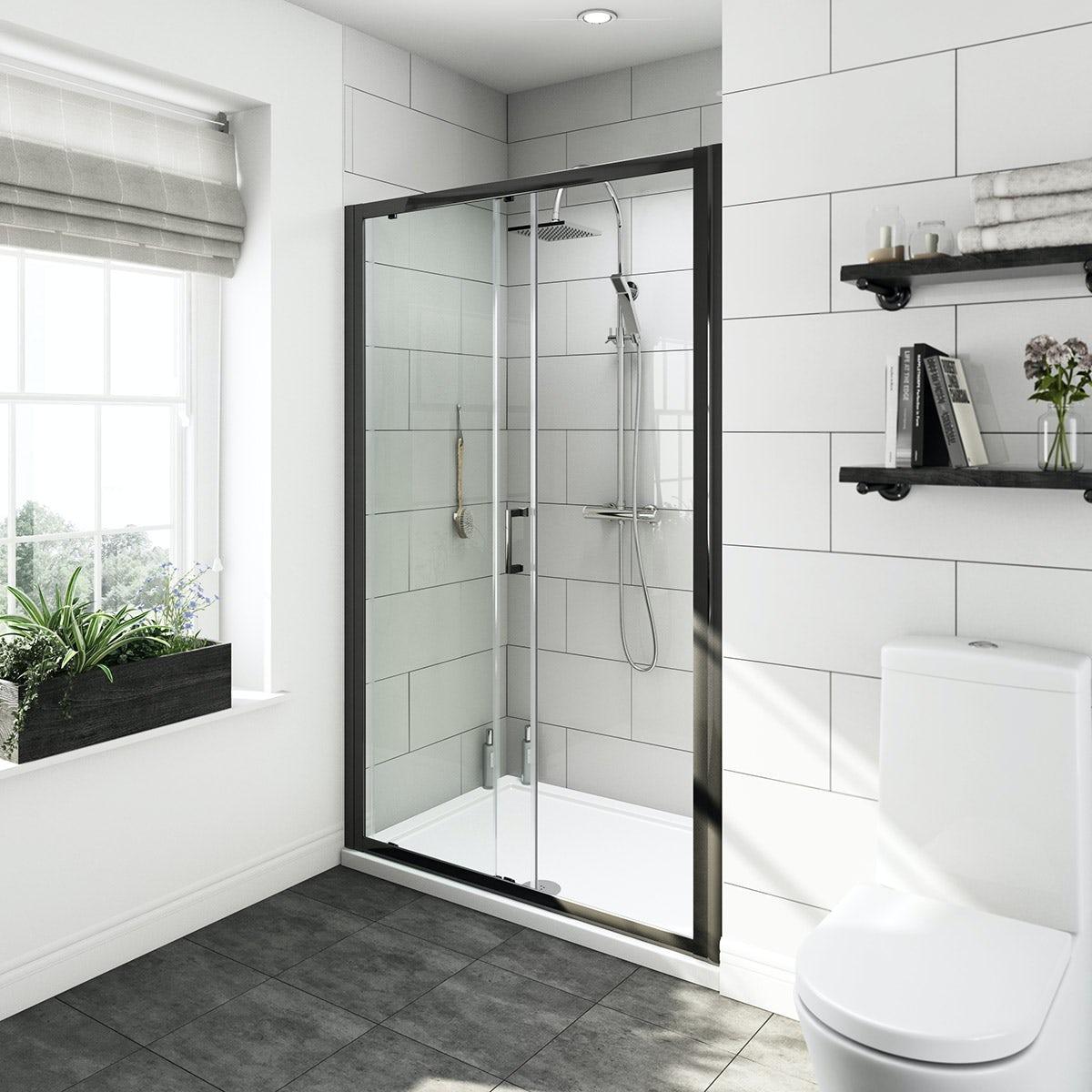 Mode Black 6mm Sliding Shower Door 1200mm Pack