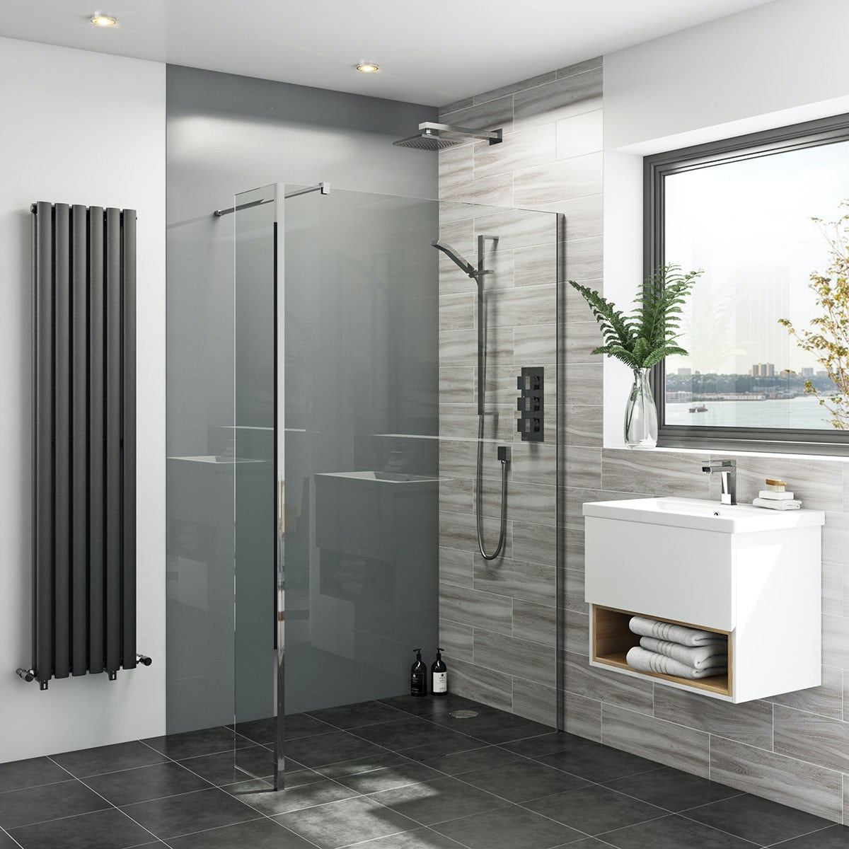 Bathroom Wall Board : Zenolite plus ash acrylic shower wall panel