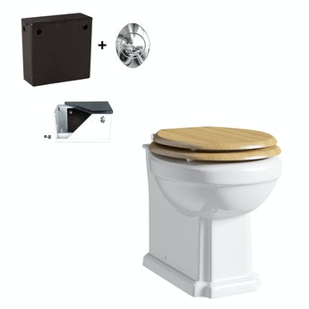 Winchester back to wall toilet with oak effect soft close seat and concealed cistern
