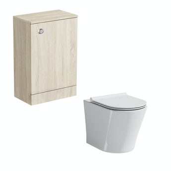 Arden oak back to wall unit with Mode Arte toilet