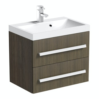 Arden walnut wall hung vanity unit 600mm with basin