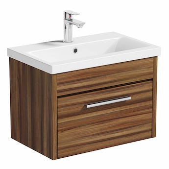 Smart walnut wall hung drawer unit 600mm & inset basin