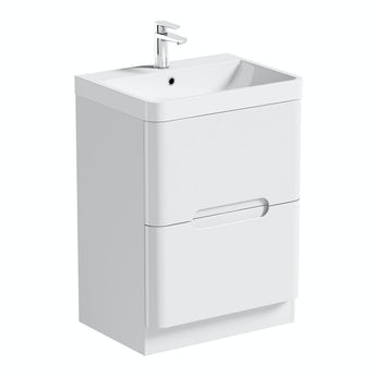 Mode Planet white vanity drawer unit and basin 600mm
