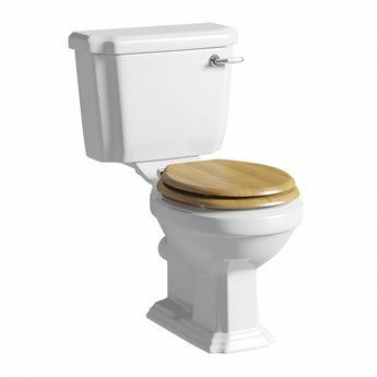 Cavendish close coupled toilet with wooden toilet seat oak effect
