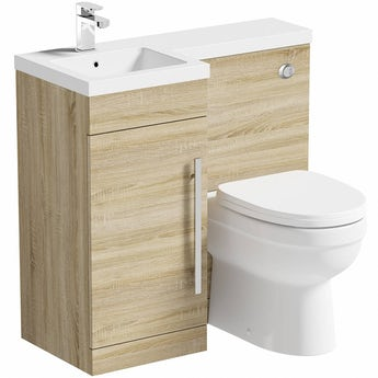 MySpace oak left handed unit with Energy back to wall toilet